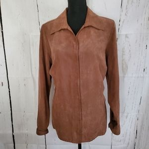 Sonoma Camel Color Suede Long Sleeve Snap Shirt